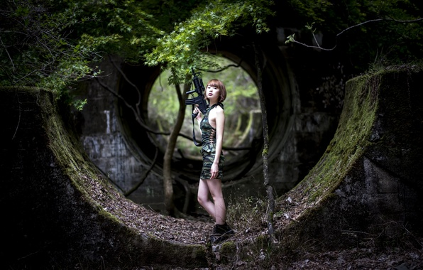 Picture forest, girl, weapons, the ruins, Asian