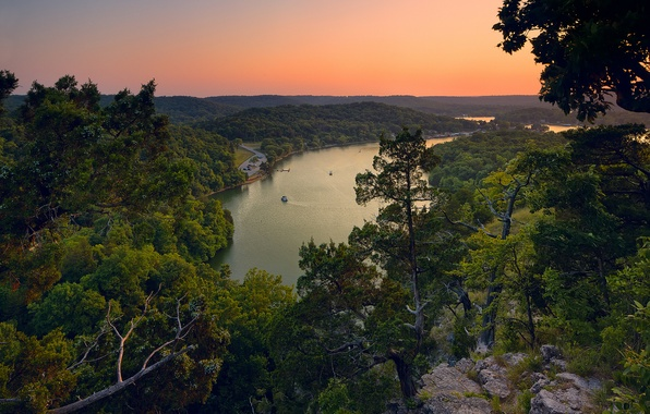 Picture forest, trees, sunset, nature, lake, panorama, Lake of the Ozarks