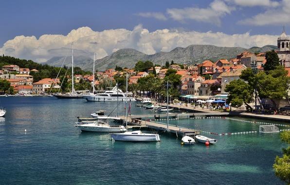 Picture the city, photo, yacht, pier, pierce, Croatia, Cavtat