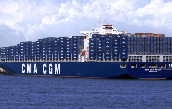 Picture Clouds, Sea, Pier, Blue, Board, The ship, Cargo, A container ship, CMA CGM, MEDEA
