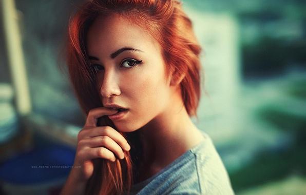 Wallpaper Look, Sexy, Portrait, Lips, Beauty, Redhead