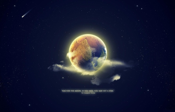 Picture stars, background, earth, Wallpaper, the moon, planet, quote, statement