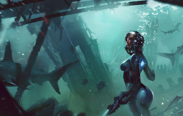 Picture sea, girl, fish, weapons, art, sharks, under water, scuba