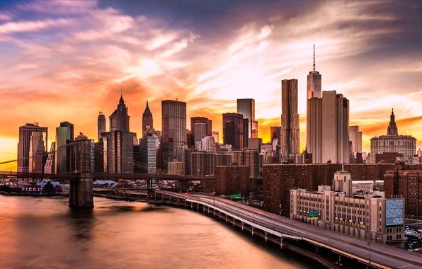 Picture lights, USA, river, sky, bridge, sunset, New York, Manhattan, Brooklyn Bridge, skyscrapers, harbour, East River