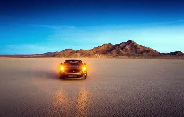 Picture Desert, Machine, Light, Nissan, Nissan, GT-R, Lights, Edition, Track