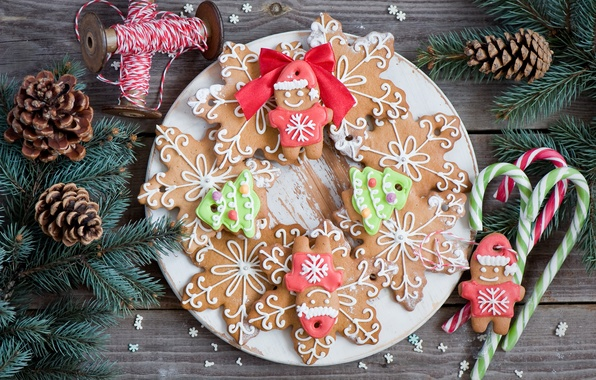 Picture winter, snowflakes, branches, food, spruce, men, cookies, plate, candy, sweets, lollipops, tree, Christmas, bumps, figures, …