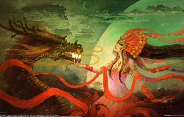 Picture girl, clouds, dragon, building, ball, feathers, art, horns, sphere, mingsong jia