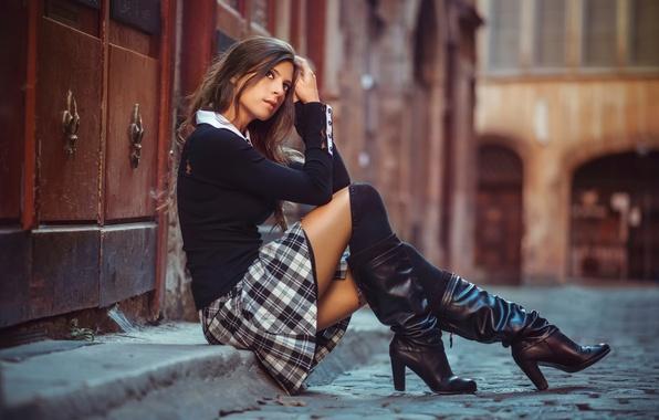 Picture street, skirt, boots, schoolgirl, legs, Schoolgirl in the street, Julien Fischer
