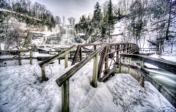 Picture winter, snow, trees, mountains, bridge, rocks, waterfall, USA, the state of new York, chittenango falls …