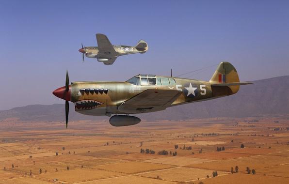 "Picture the sky, art, fighters, RAF, WW2, American, Curtiss P-40, (""Kittyhawk""), Curtiss P-40, ""Tomahawk"""