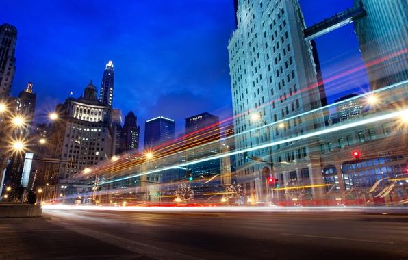 Picture night, city, excerpt, USA, Chicago, Illinois