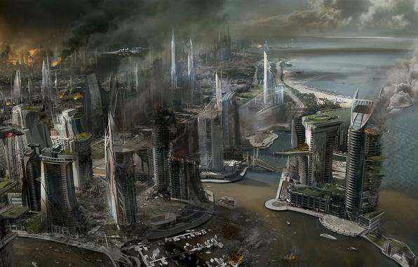 Picture sea, the city, fire, fire, smoke, view, ship, building, skyscrapers, destruction, Killzone, Concept Art, Mercenary