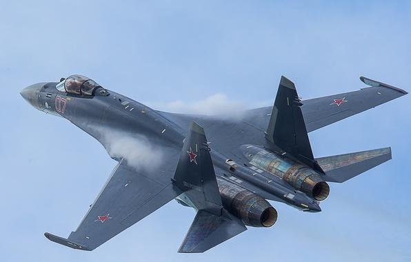 Picture the sky, fighter, flight, Su-35, jet, multipurpose, super-maneuverable