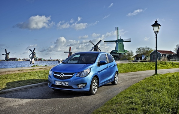 Photo wallpaper 2015, The sky, Opel, Karl, Blue, Road, photo, Mill, Car