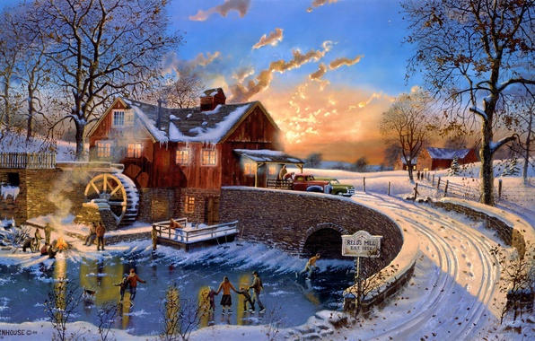 Picture cold, winter, machine, bridge, house, ice, the evening, mill, rink, painting, fallen leaves, Dave Barnhouse, …