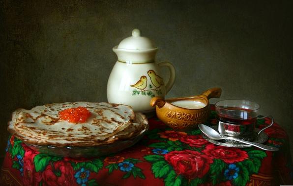 Picture tea, texture, dishes, still life, pancakes, shawl, caviar, sour cream
