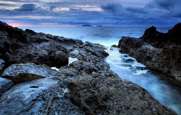 Picture sea, the sky, water, Islands, clouds, rocks, Portugal, sunrise, Madeira