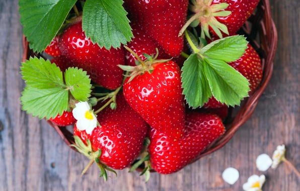 Picture berries, strawberry, basket, strawberry, fresh berries
