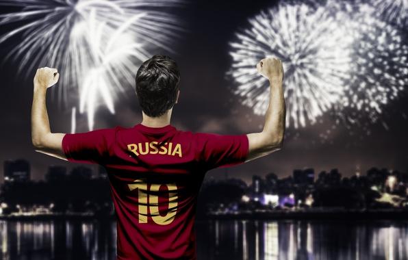 Picture salute, form, Russia, player, team, football, player, fireworks, player, team Russia
