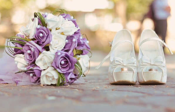 Picture bouquet, ring, shoes, white