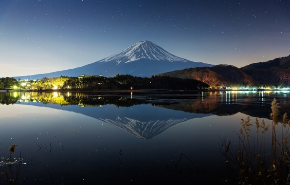 Picture winter, reflection, night, lake, river, mountain, Japan, Fuji, stratovolcano, Mount Fuji