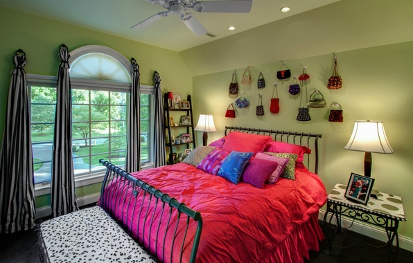Picture design, comfort, background, room, pink, Wallpaper, lamp, bed, interior, pillow, window, apartment, bags, wallpapers