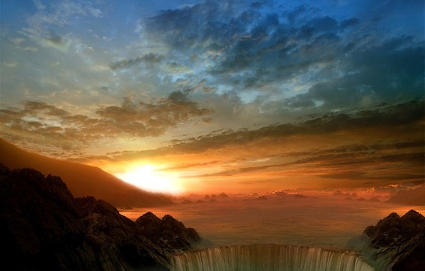 Picture the sun, clouds, waterfall