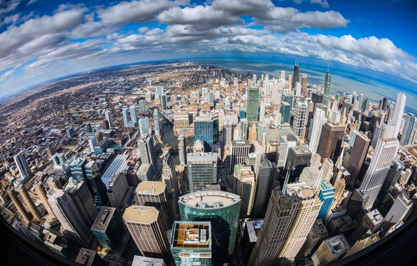Picture the city, the ocean, shore, height, skyscrapers, Chicago, Illinois, panorama