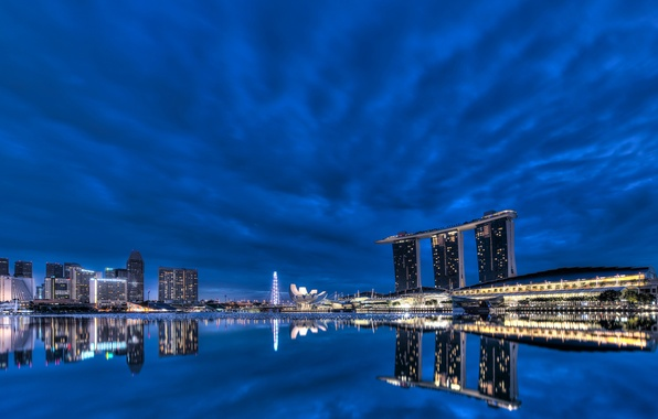 Picture clouds, night, lights, lights, reflection, skyscrapers, backlight, Bay, Singapore, architecture, megapolis, night, clouds, Singapore, blue …