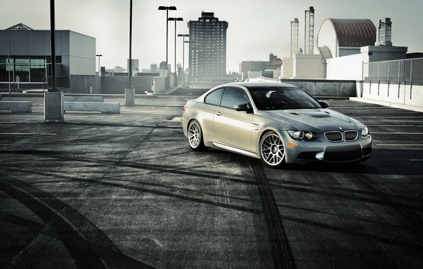 Picture BMW, BMW, Parking, silver, front, E92, silvery