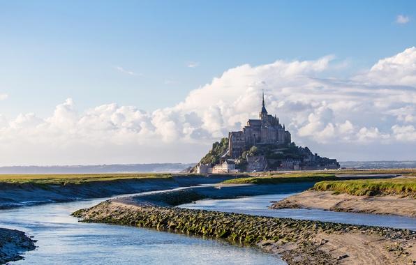 Picture sea, the sky, clouds, castle, France, Normandy, Mont-Saint-Michel