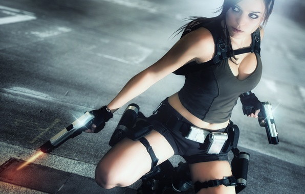 Picture look, girl, face, weapons, hair, guns, the game, Mike, backpack, Lara Croft, Tomb raider, Charly …