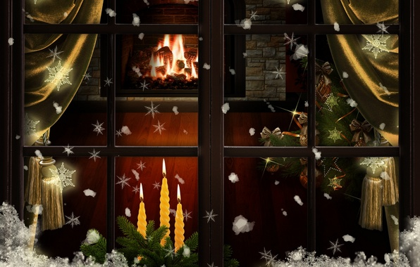 Picture snow, decoration, snowflakes, tree, candles, window, Christmas, New year, fireplace, curtains