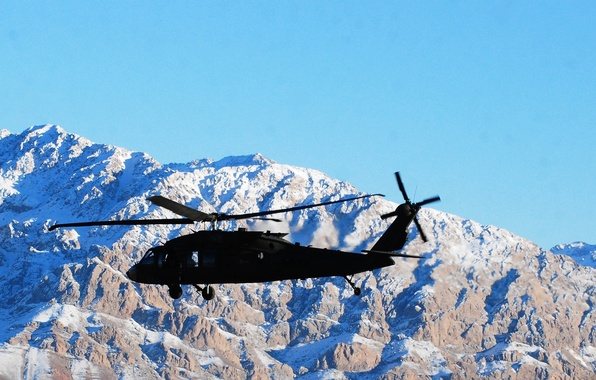 """Picture the sky, snow, mountains, tops, American, UH-60 Black Hawk, """"Black hawk down"""", Sikorsky UH-60 """"black …"""