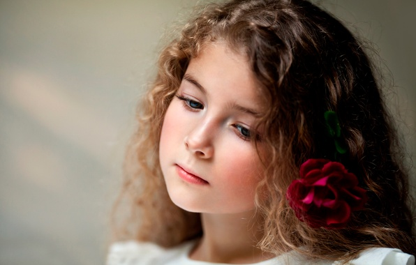 Picture flower, rose, portrait, girl, child photography