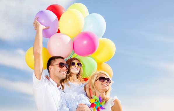 Picture balls, joy, happiness, balloons, people, colorful, happy, sky, people, balloons, family