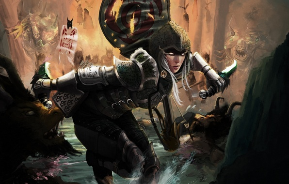 Picture forest, water, girl, stream, art, battle, knives, Diablo III, enemies, Demon Hunter