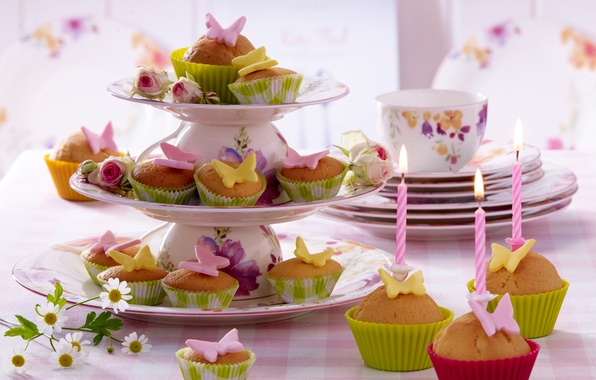 Picture butterfly, flowers, table, food, roses, candles, Cup, cake, cake, dessert, food, butterfly, flowers, sweet, cupcakes, …