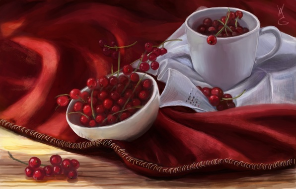 Picture berries, art, mug, red, currants, napkin, bowl