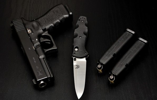 Picture gun, weapons, table, black, knife, cartridges, black, shop, Glock, folding, benchmade, Glock, Gen, 580