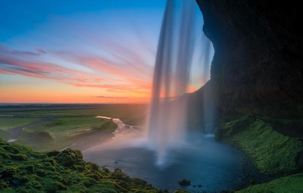 Picture sunset, rocks, waterfall, Iceland, Seljalandsfoss