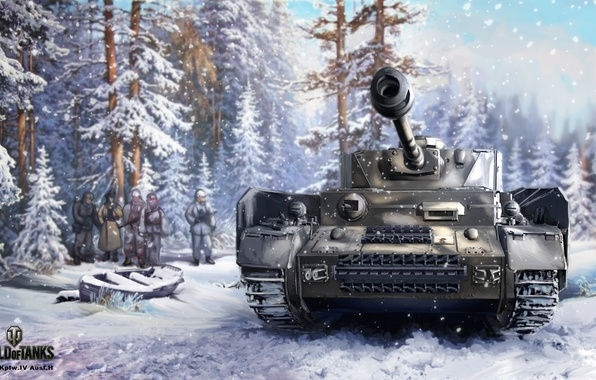 Picture winter, forest, snow, figure, art, tank, the Germans, German, average, World of Tanks, Nikita Bolyakov, …
