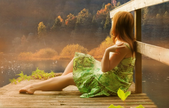 Picture girl, trees, lake, hair, hands, dress, art, legs, painting, sitting