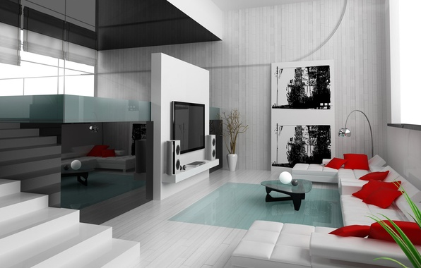 Picture reflection, modern, picture, Design, pillow, TV, apartment, Interior