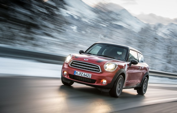 Picture red, Machine, Lights, Mini Cooper, the front, MINI, Mini Cooper, In Motion, Paceman