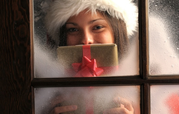 Picture girl, holiday, gift, new year, window, new year