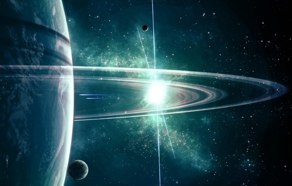 Picture space, stars, planet, ring