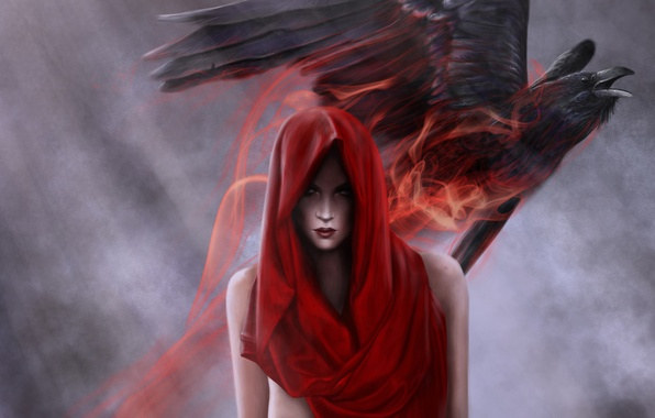 Picture girl, red, bird, magic, art, hood, Raven