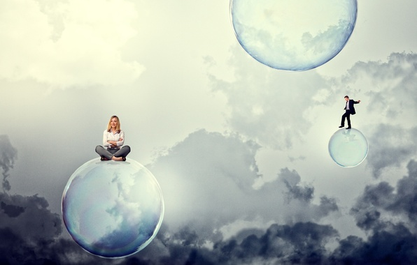 Picture the sky, girl, clouds, smile, bubbles, blonde, guy