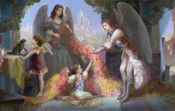 Picture flowers, the city, castle, girls, cats, wings, angel, window, art, statue, Cauchy